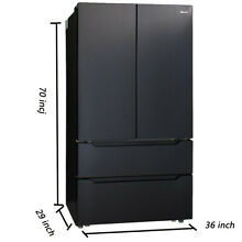 Kitchen Automatic Ice maker 36 Inch Refrigerator with Counter French Door Black