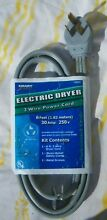 NOS 3 Prong Male Electric Dryer Power Cord Plug 250V 30 Amp Universal 6ft