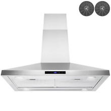 36  Island Mount Kitchen Range Hood LED Stainless Steel Top Vent Carbon Filters