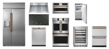GE Cafe Stainless Steel Kitchen Package   Brushed Copper Handles