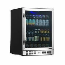 24  Beverage Refrigerator and Cooler with Glass Door  177 Can Stainless Steel