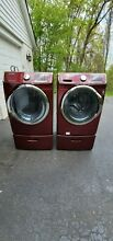 SAMSUNG   Red Electric WASHER  NEEDS WORK  and Gas DRYER Set with Pedestal s