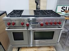 Wolf 48  range stove dual fuel with griddle