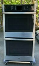 GE 27  Double Electric Wall Oven Self Cleaning w steam in stainless steel