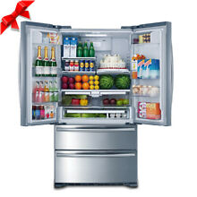 SMAD Kitchen 36  French Doors Refrigerator Fridge Ice Maker Stainless Steel LED