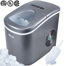 Portable Electric Ice Maker High Capacity 26 Pounds Per Day 2 Cube Sizes  Silver