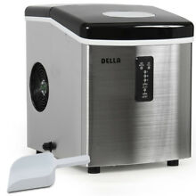 Stainless Steel Ice Maker Portable Countertop 35 Pound Max 3 Cube Sz  Black Top
