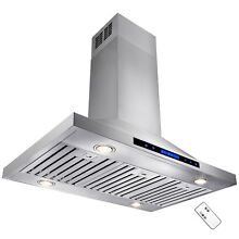 36  Dual Touch Panel Island Mount Halogen Powerful Stainless Steel Range Hood
