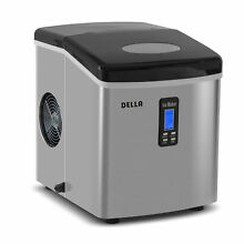 Stainless Steel Ice Maker Portable Countertop LCD Display 28 Pound Cap Black Top