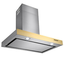 36  Modern Design Stainless Steel Wall Mount Kitchen Range Hood Gold Trim