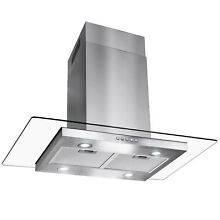 36  Flat Island Mount Stainless Steel Range Hood Mesh Filters CFM 400 LED Lights