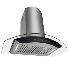 36  Wall Mount Stainless Steel Range Hood Clear Curved Glass LED Baffle Filters