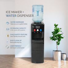 2 in 1 Water Dispenser Top Load Hot   Cold  Built in Ice Maker Safety Lock Black