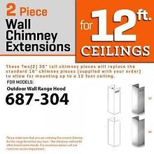 ZLINE WALL Chimney Extension UP TO 12 ft ceiling OUTDOOR MODEL 687 304  2PCEXT