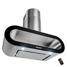 30  Wall Mount Stainless Steel Black Trim Touch Panel Kitchen Range Hood Cooking