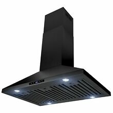 36  Island Mount Black Stainless Steel Touch Panel Kitchen Range Hood