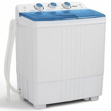 11lbs Portable Washing Machine Mini Compact Twin Tub Laundry Washer Spin Dryer