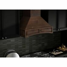 ZLINE 48 in  Wooden Wall Mount Range Hood in Walnut   Includes 1200 CFM Motor