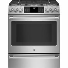 GE Caf  Series 30  Slide In Front Control Range with Warming Drawer