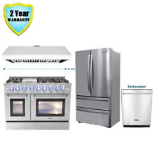 48  Thor Kitchen Dual Fuel Gas Range  48in Range Hood Dishwasher Refrigerator