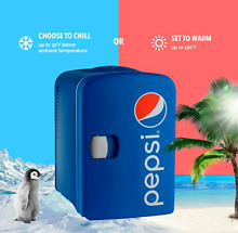 Pepsi 6 Can Mini Fridge Cooler and Warmer for Home  Office  Car  Dorm or Boat