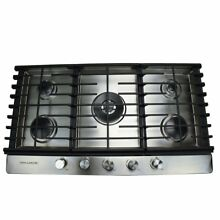 36 in  Gas Cooktop in Stainless Steel with 5 Burners Including a Tri Ring Power