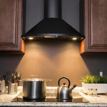 Golden Vantage RH0344 30  Wall Mount Black Finish Stainless Steel Range Hood
