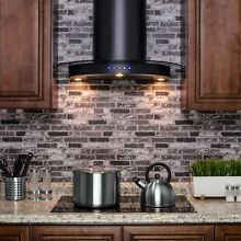 AKDY RH0205 30  Black Finish Stainless Steel Wall Mount Range Hood Touch Control