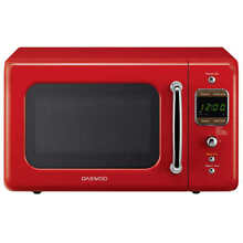 Daewoo Kor  7 Lrer Retro Microwave Oven 0 7 Cu Ft  700W Pure Red