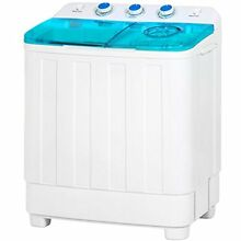 Portable Mini Twin Tub Compact Washing Machine W Spin Dry Cycle White Blue