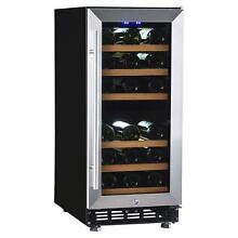 Dual Zone Wine Refrigerator 28 Bottles Built in Compressor Wine Cellar Cooler