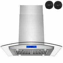 AKDY RH0357 30 in  Kitchen Island Range Hood in Stainless Steel with Tempered