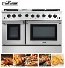 Large Thor Kitchen 48Inch Gas Range 2 Oven 6 Cooktop Griddle Stainless Steel