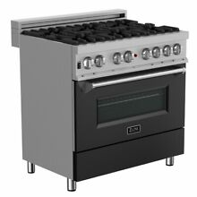 ZLINE 36  DUAL FUEL RANGE OVEN GAS ELECTRIC STAINLESS BLACK DOOR RAS BLM 36