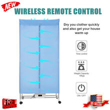 Folding Electric Clothes Dryer Wardrobe Machine W  4Casters Remote Control Timer