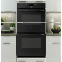 GE 27 Inch Built In Double Wall Oven in Black Black