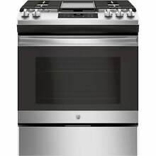 GE 30  Slide In Front Control Gas Range   Stainless Steel Stainless Steel