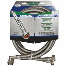 Eastman 41065 Stainless Steel Washing Machine Hose with Elbow 5 Ft Pair Silver