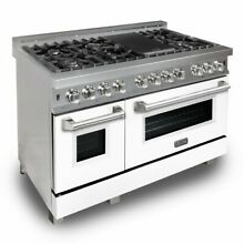 ZLINE 48  DUAL FUEL RANGE OVEN GAS ELECTRIC STAINLESS WHITE MATTE DOOR RAS WM 48
