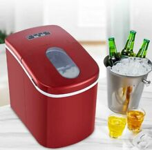Portable Countertop Ice cube Maker Machine 26Lbs Day with Ice Scoop Red