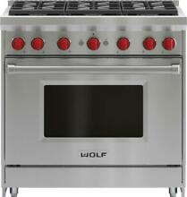 Wolf GR366 36  Freestanding Gas Range w  6 Sealed Burners 5 5 cuft Oven Capacity