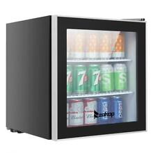1 6 Cu Ft Beverage Center Mini Fridge Stainless Steel Glass Door LED light Beer