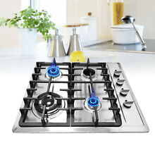 NG LPG Cooktop 23  4 Burners Built in Stove Stainless Steel Cooker Cook top US