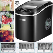 Electric Ice Cube Maker Machine Countertop 2 Size Ice 26Lbs 24h ETL Listed Black