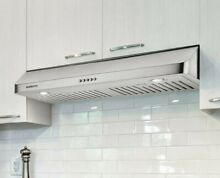Kitchen Range Hood 30in Over Stove Ducted Vent Under Cabinet LED Stainless Steel