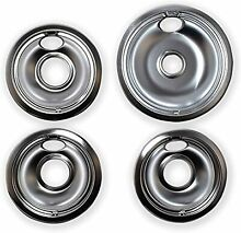 4 Universal  Chrome Stove Drip Pans Electric Burner Covers Top Replacement Set