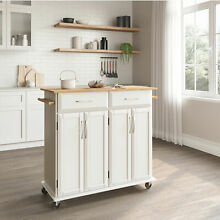 36 Inch Rubberwood Top Deluxe Rolling Kitchen Island Cart with Storage  White