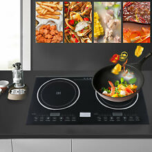 2600W Electric Dual Induction Cooktop  Built in 2 Burner Ceramic Cooker  USED