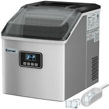 Stainless Steel Ice Maker Machine Countertop 48Lbs 24H Self Clean with LCD Displ