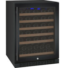 Allavino 56 Bottle Built In Wine Cooler Refrigerator Cellar Black Glass Door